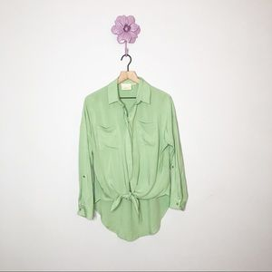 Anthro | Maeve Green Tie Front Button Up Blouse